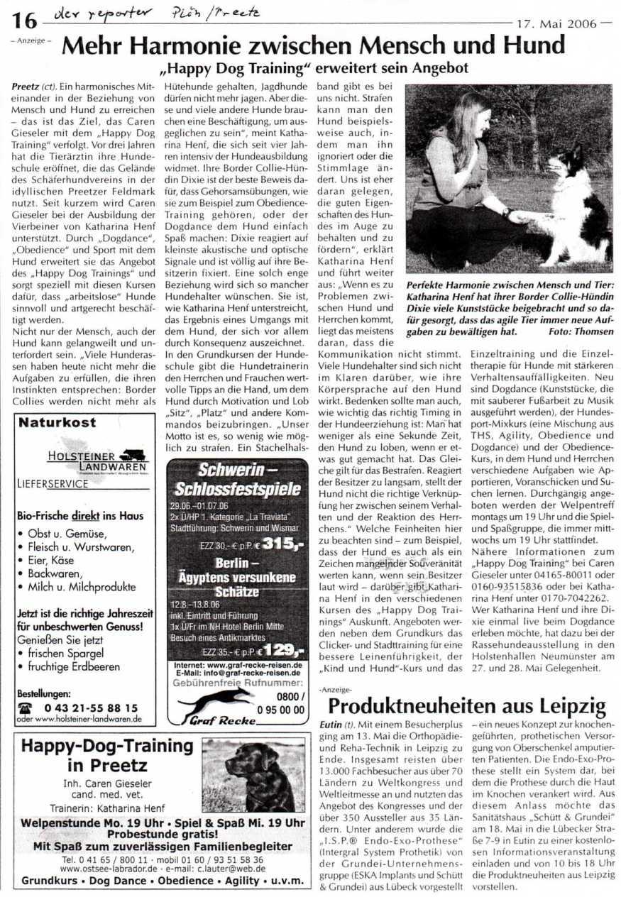 Mehr harmonie zwischen mensch und hund bericht im reporter 17 05